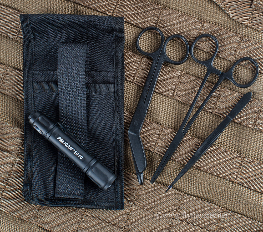 EMT Toolkit: Bandage Scissors, Forceps, Hemostat, and Pelican 1910 w/ Holster for All Items