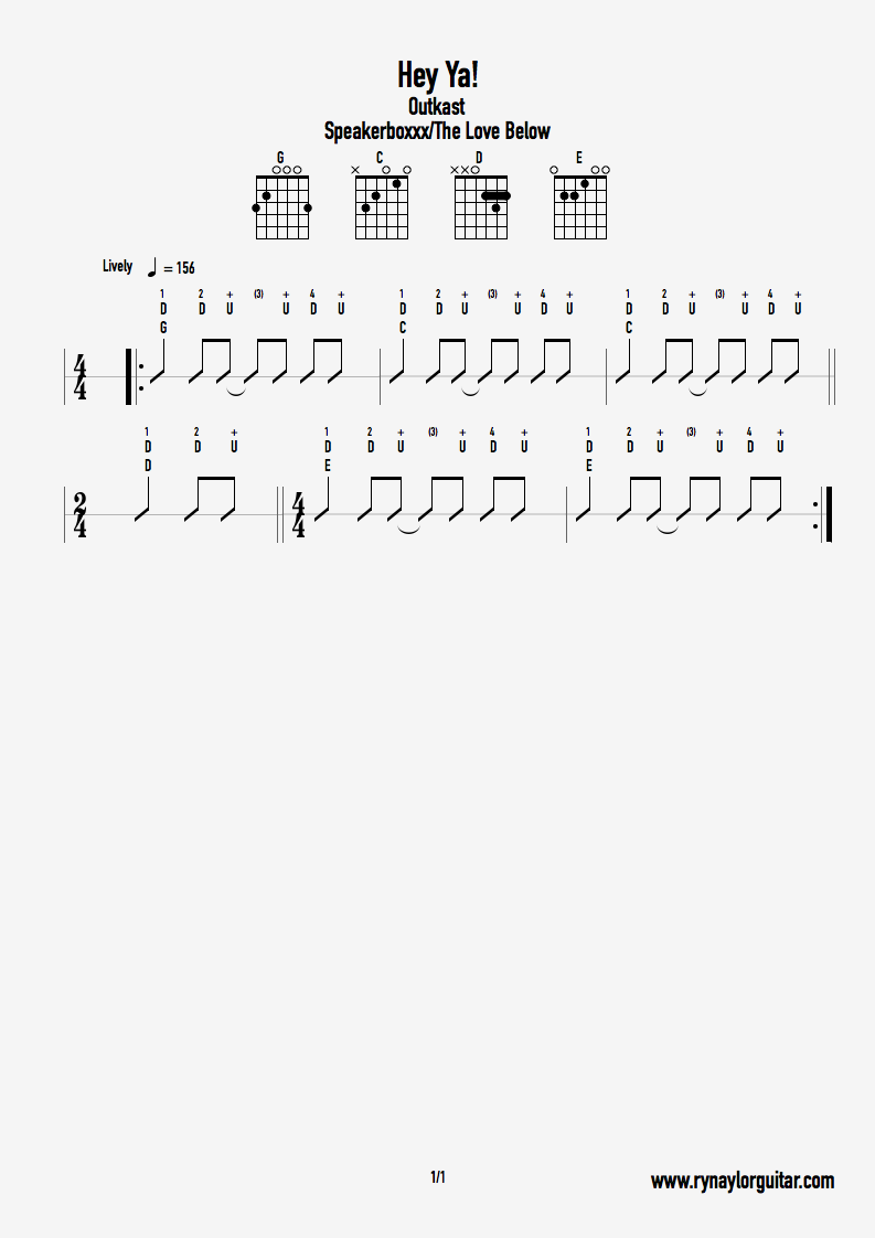 How To Play Hey Ya By Outkast Ry Naylor Guitar Free Online