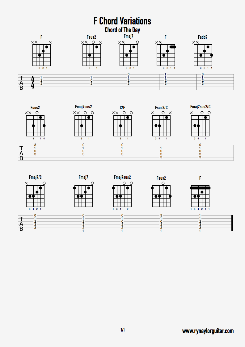 Chord of The Day   How to Play Loads of Different F Chords — Ry ...