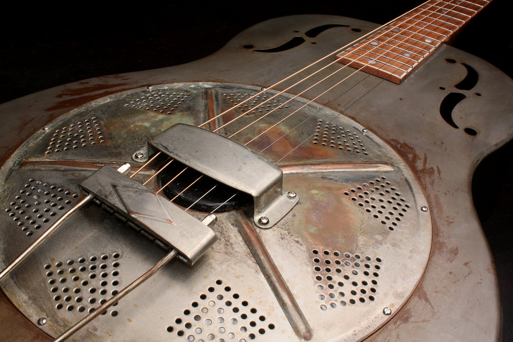 A steel resonator guitar
