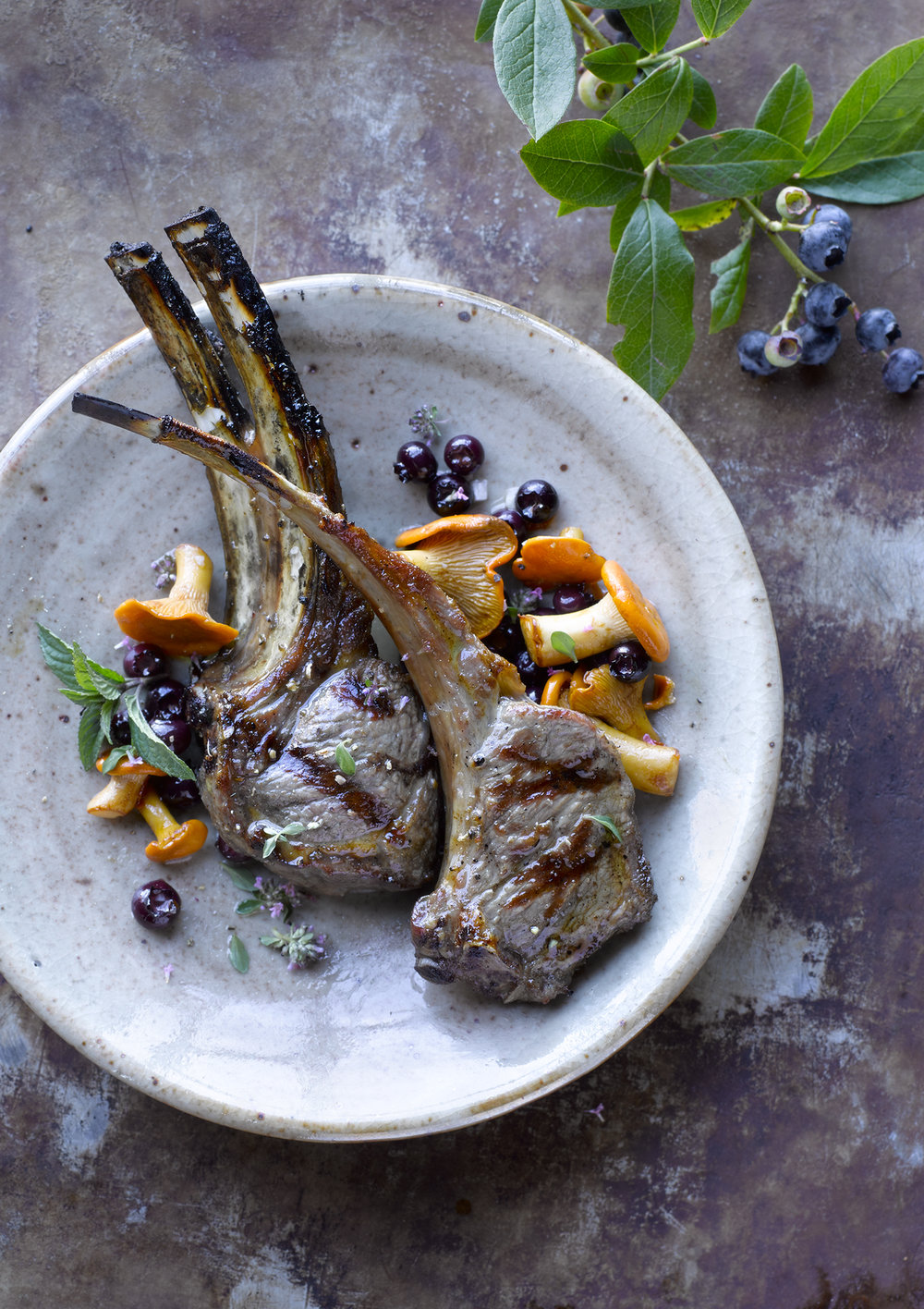 Grilled lamb chops with chanterelles & wild blueberry chutney (page 188, Untamed Mushrooms)