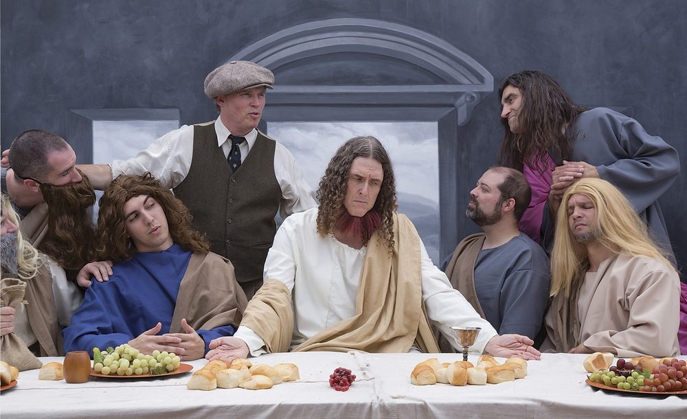 "Photograph by Douglas Kirkland    Al Yankovic and ""The Last Supper."" Mark Kirkland directed the scene wearing a period director's outfit. ""It was like a crazy dream watching the scene play out live,"" said Kirkland. ""Most fun ever!"" The film is in period black & white, but it was beautiful in color on set. The backdrop was hand-painted by former Warner Bros. scenic artist, Don Hanson. Costumes by Ashley B. Cooper, Make Up by Nikki Isordia."