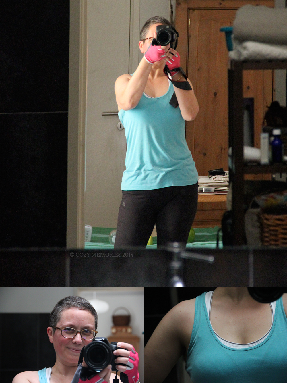 Not afraid to take photos DURING my workout, all red faced & sweaty. No pain, no gain.