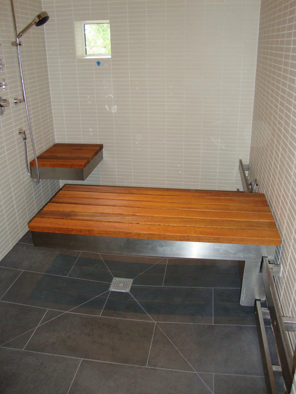 Handicap Accessible Shower Bench Upper Story Design