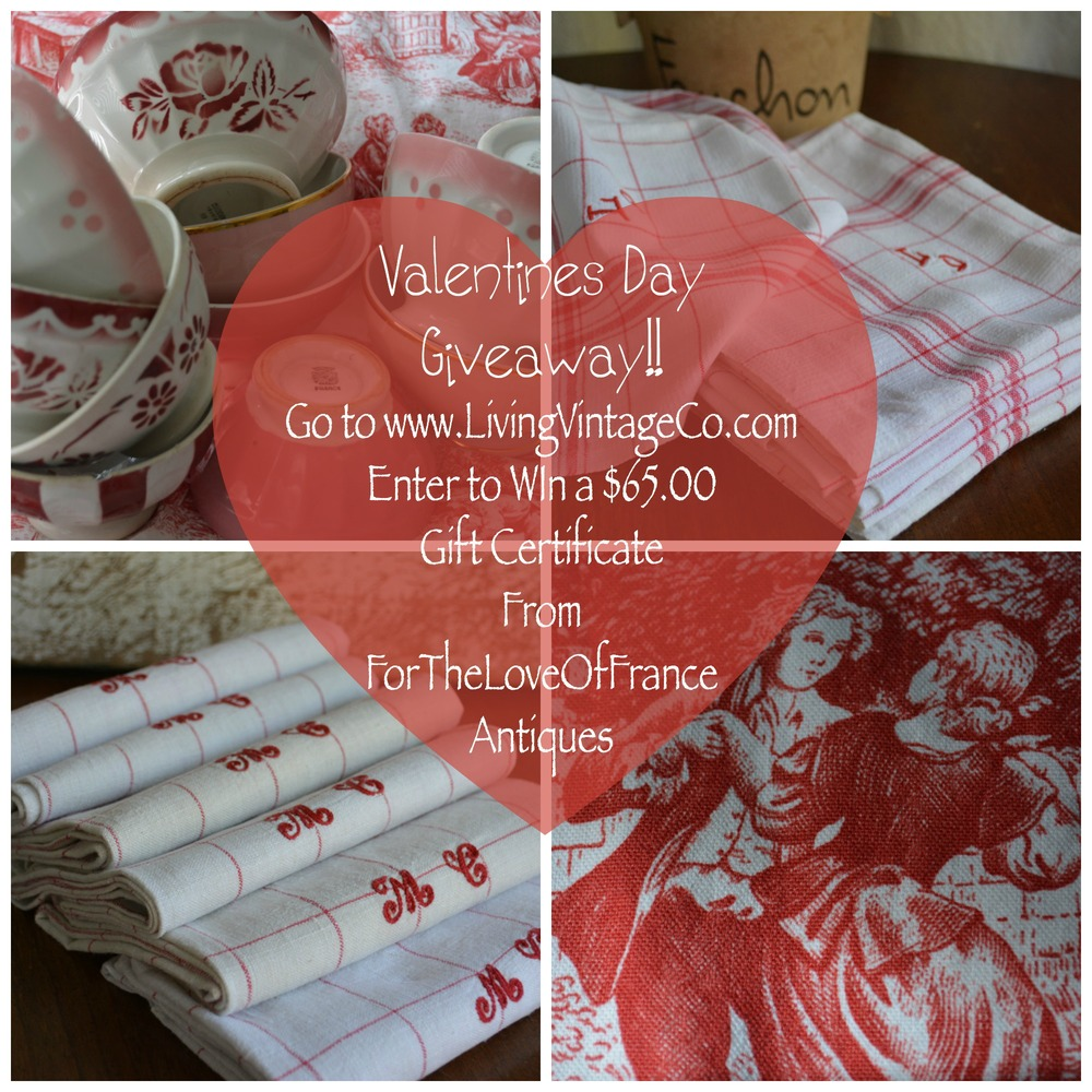 Valentines Day Giveaway Collage of Vintage French Decor