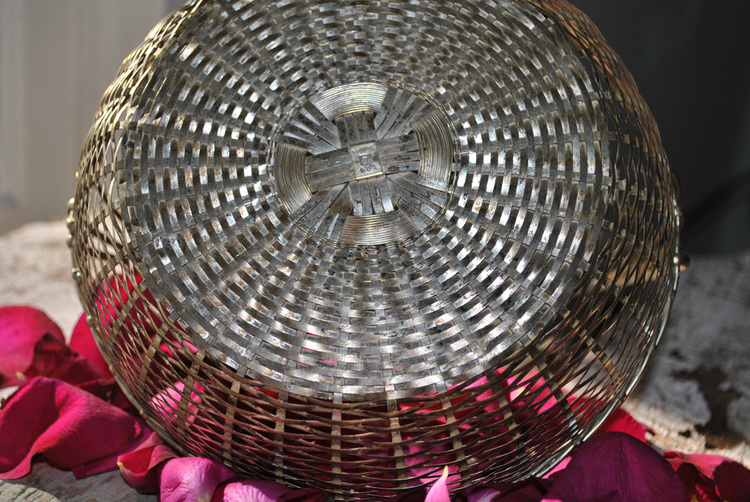 Silver Wire Basket With Handle | French Wire Baskets Silver Basket With Handle French Antiques