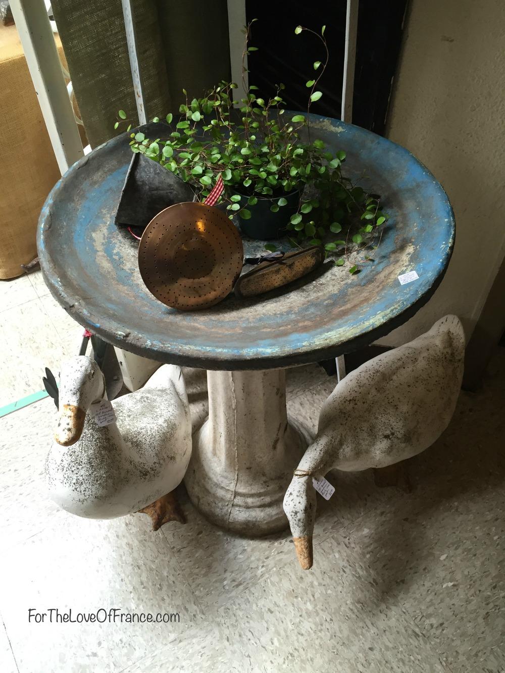 Vintage birdbath and garden statues.jpg