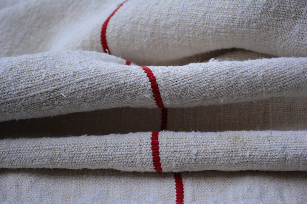 vintage grain sack fabric with red stripe
