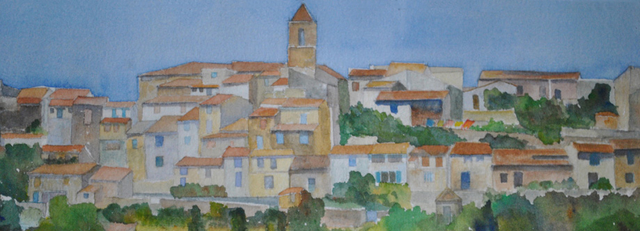 Painting of Lourmarin France by Claudia Violette