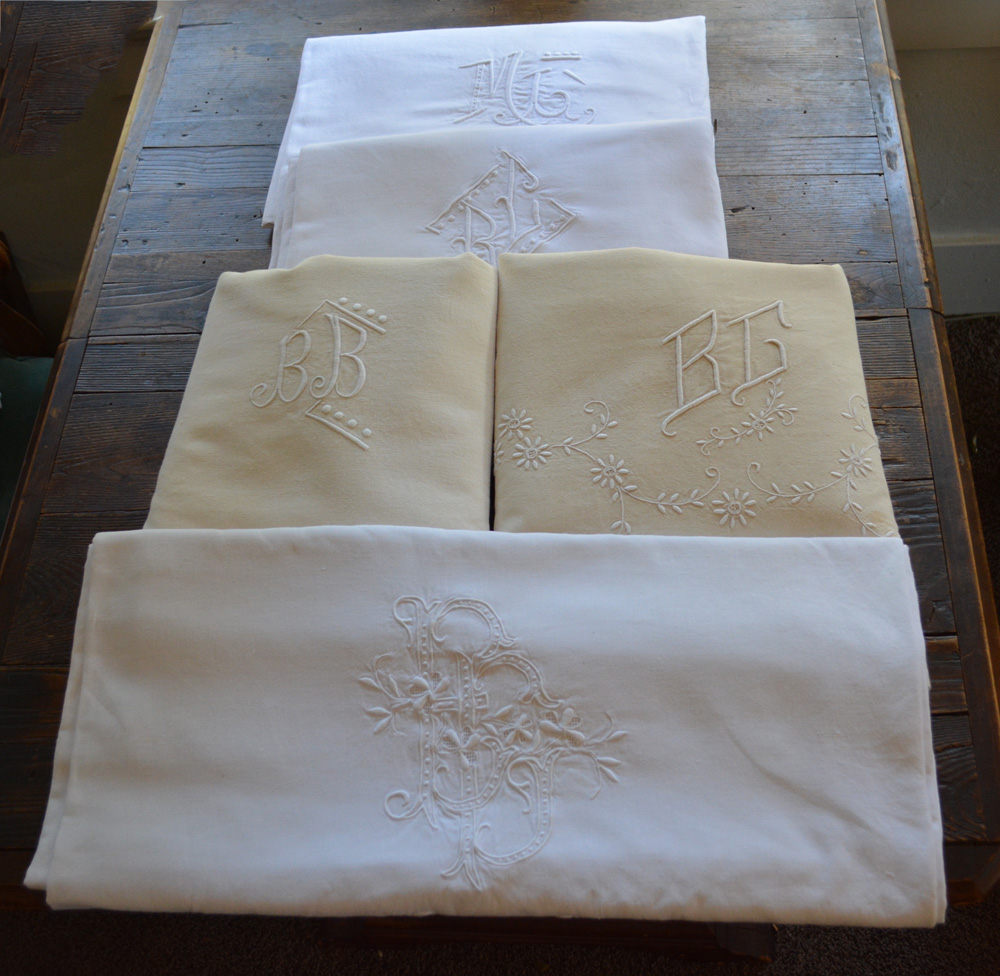A few of the Antique French linen-metis sheets that are currently on sale in my Shop!