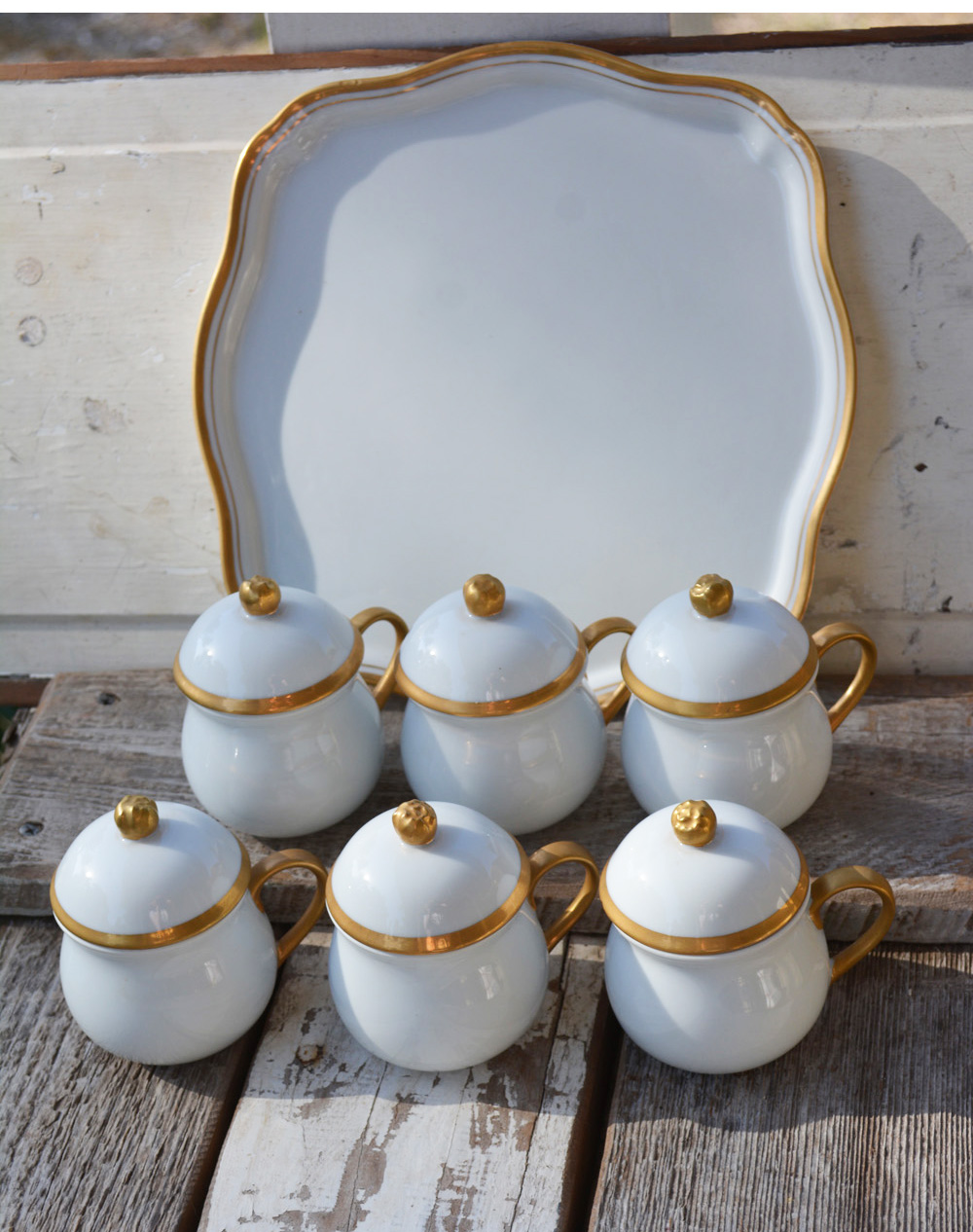 Six Pot a creme with serving tray : antique dinnerware - pezcame.com