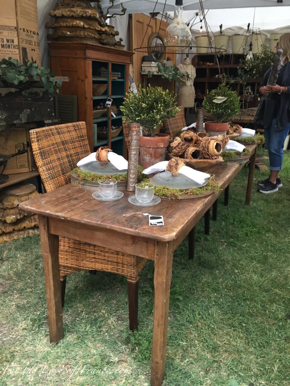 Vintage farm table set with autumn decor