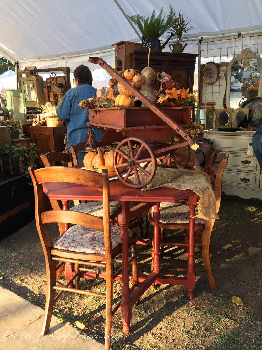 Antique chairs and table vignette