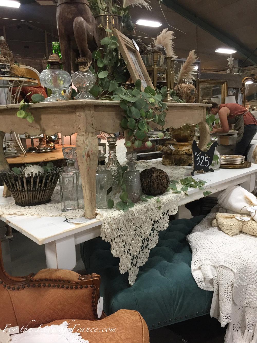 Vintage tables, picture frames, baskets, ottoman