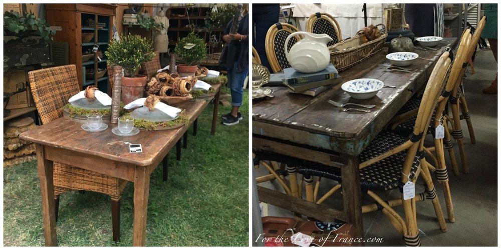 Vintage rustic farm tables