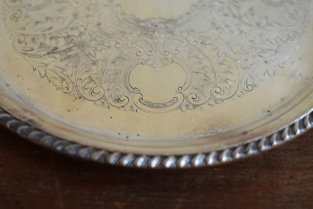 Detail of engraving and edge of silver plated tray. Vintage ... & Vintage Silver-plated tray \u2014 French Antiques Vintage French Decor ...