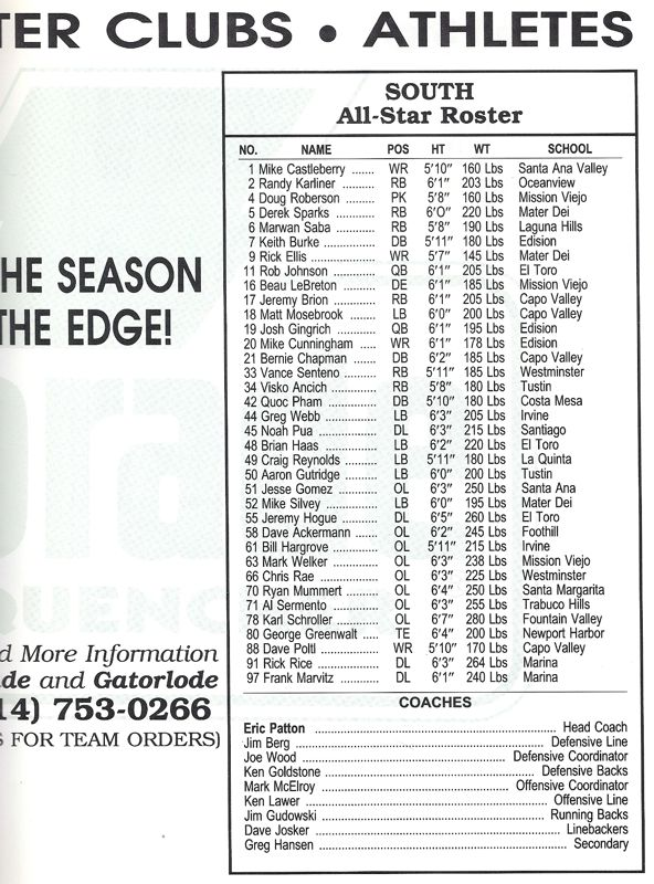 1991 South Roster, Coaches.jpg