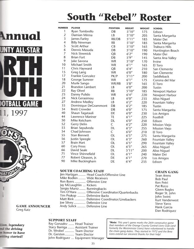 1997 South Roster, Coaches.jpg