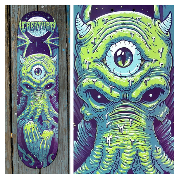 Here is a photo of the skate deck Cole made for Creature.