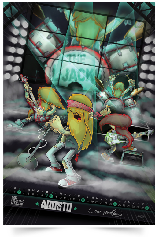 A poster made by Gabo for the Mexican rock band, The L-Rocks.