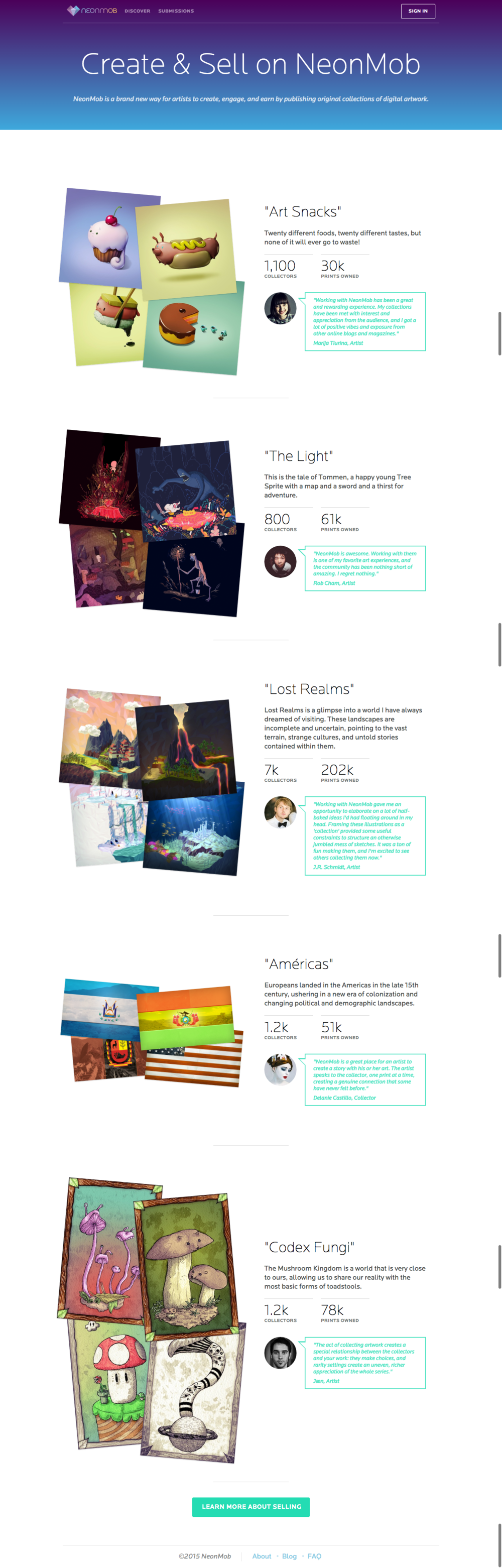 The new artiststories page