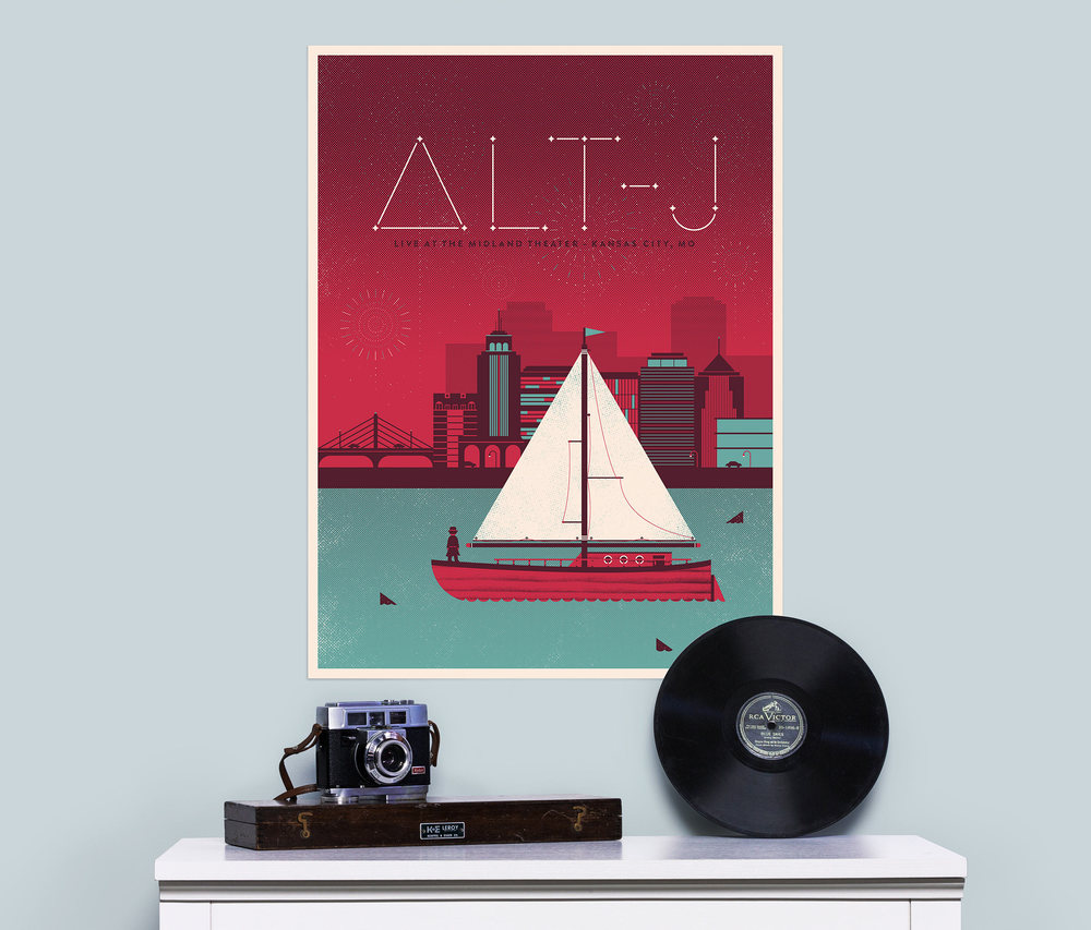 A poster that Dominic created for the band Alt-J's show at the Midland Theater in Kansas, City