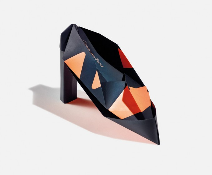 Origami renditions of Gianvito Rossi's heels were sent to 100 VIPs to invite them to a preview of Rossi's 2014 collection