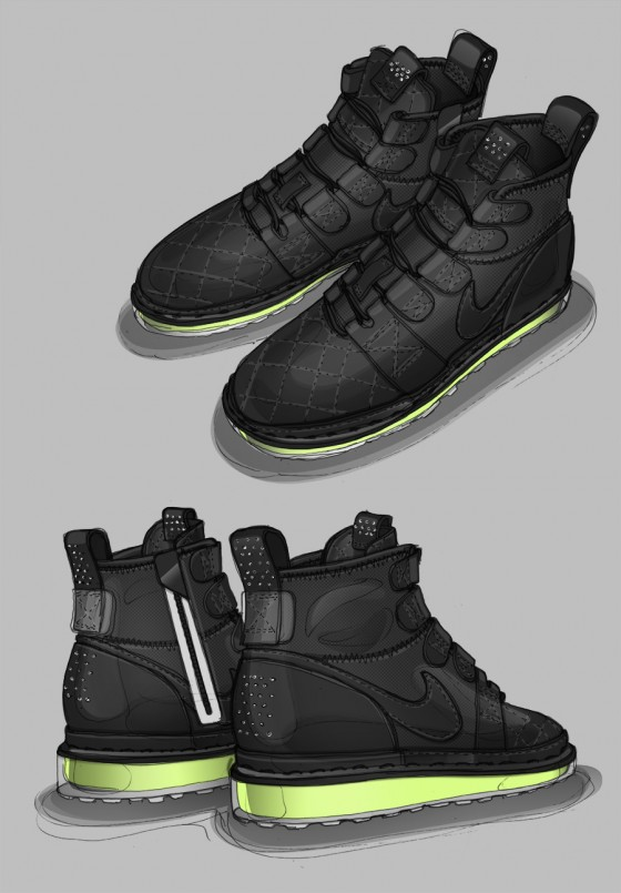 Sketches of David Whetstone's designs of the Nike Lunar Lite Boot