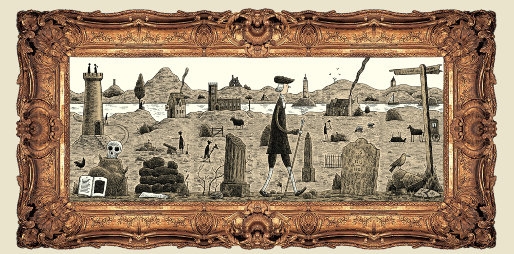 The online version of the Endless Journey allows players to arrange six cards into a frame to tell a Sterne-inspiredstory