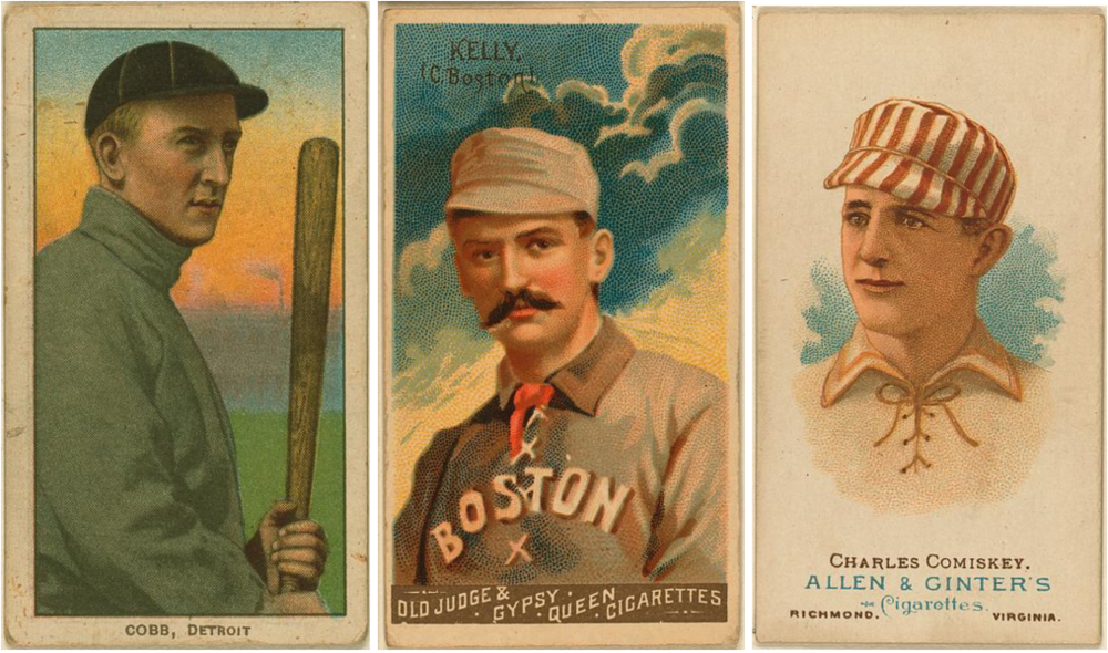 Early baseball cards for Ty Cobb, King Kelly, and Charles Comiskey