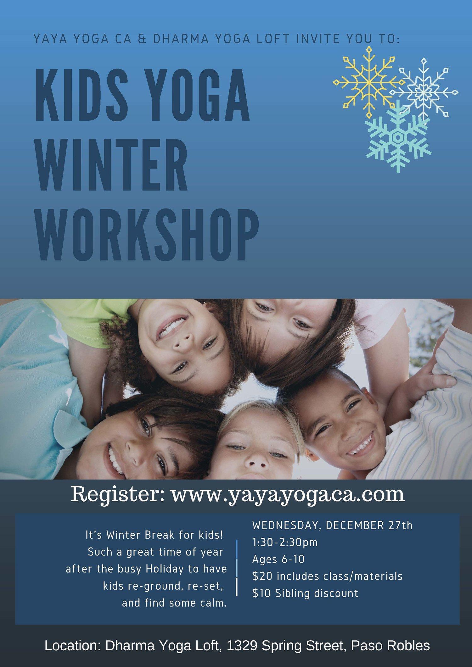 Kids Yoga Winter Workshop Ages 6 10 Yaya Yoga Ca