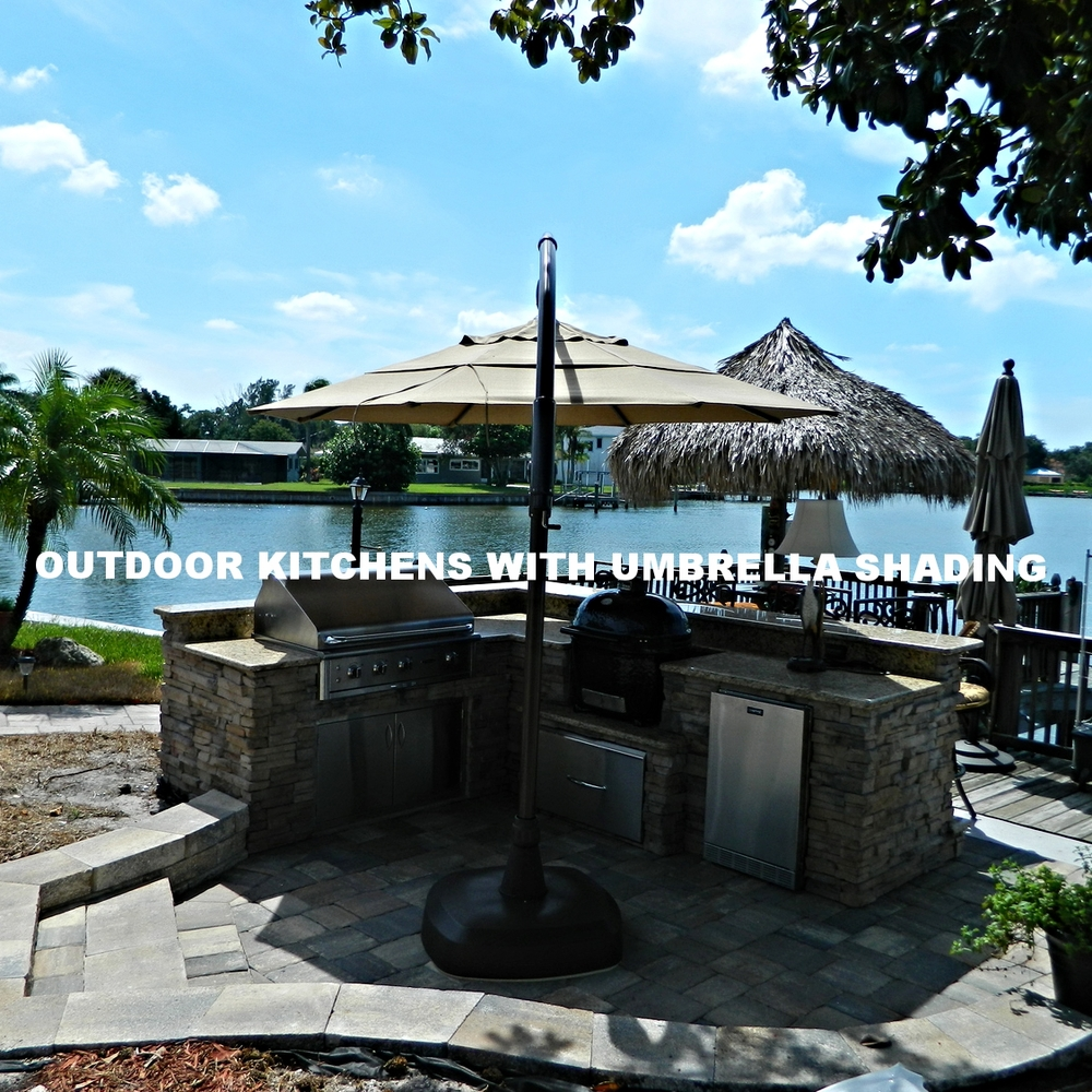 Outdoor Kitchens With Umbrella Shading