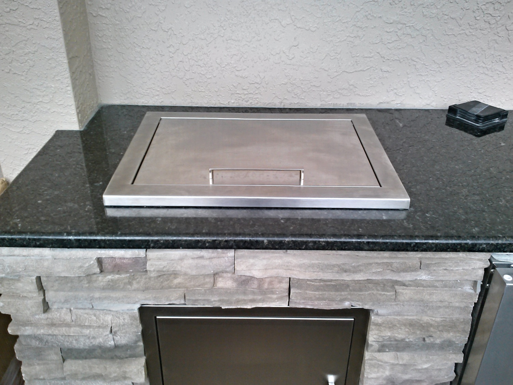 Before after outdoor kitchen water feature renewal for Drop in cooler for outdoor kitchen