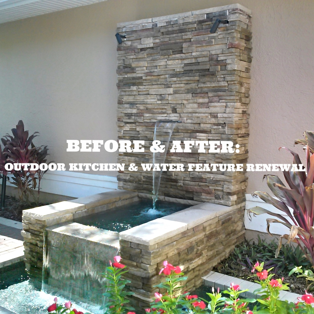 100 Outdoor Kitchen Design Ideas Photos Features: Before & After: Outdoor Kitchen & Water Feature Renewal