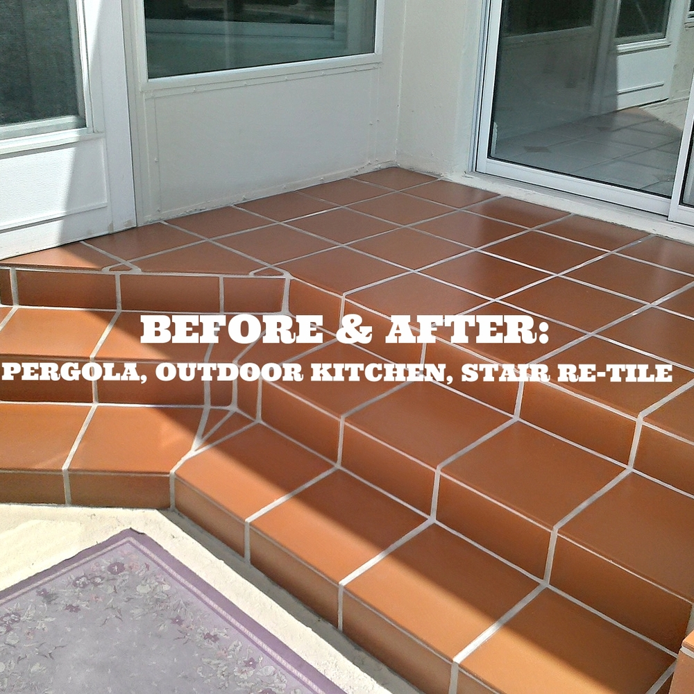 Before after pergola outdoor kitchen and stair re tile before after pergola outdoor kitchen and stair re tile premier outdoor living design dailygadgetfo Images