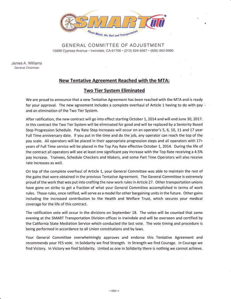 New Tentative Agreement Reached With The Mta Two Tier System