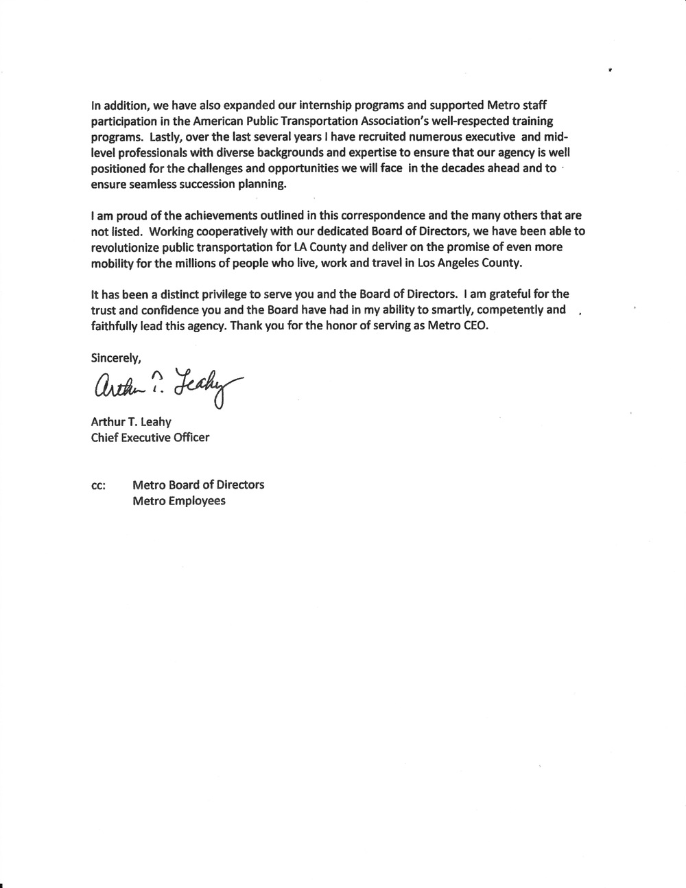 Lacmta Ceo Art Leahy Resignation Letter General Committee Of