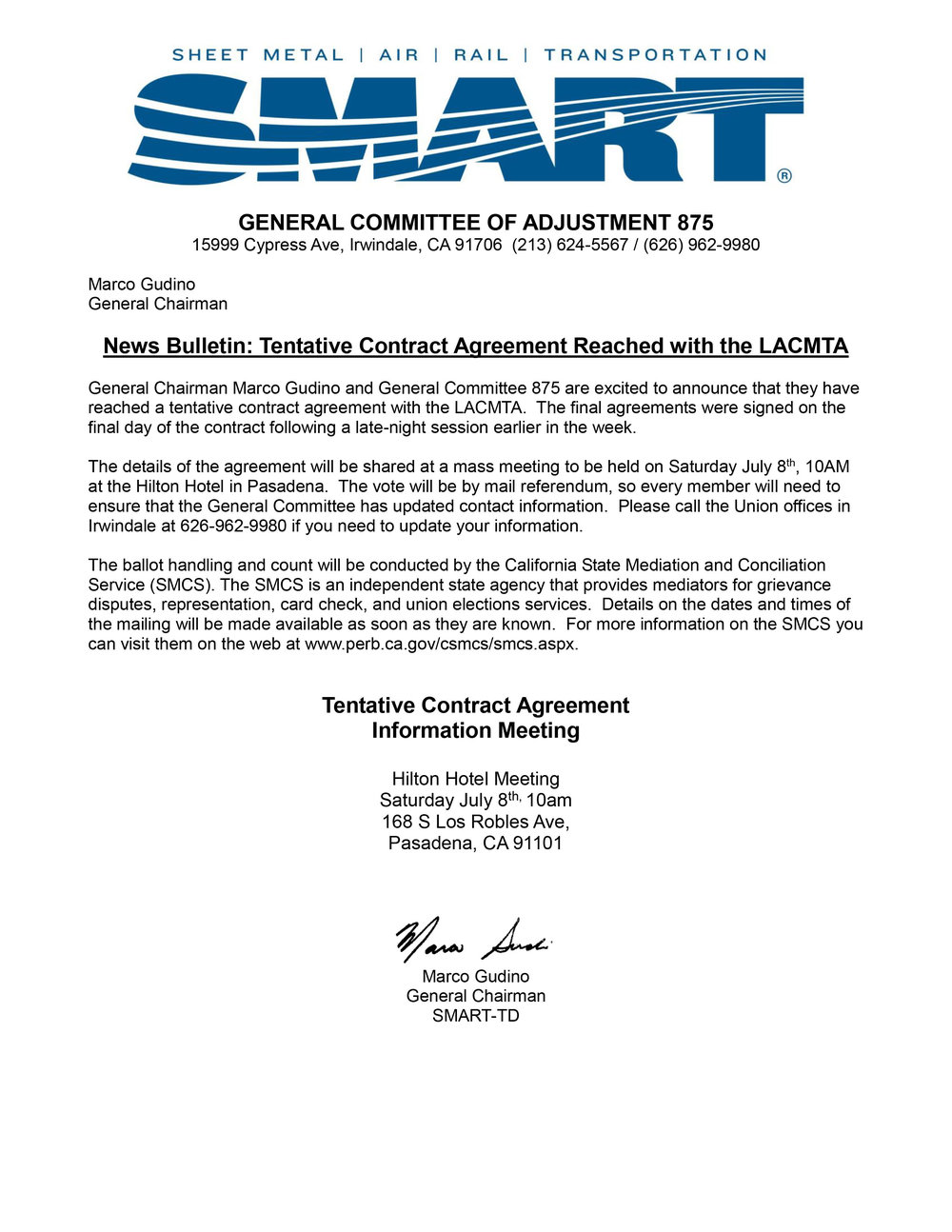 Tentative Contract Agreement Reached With The Lacmta General