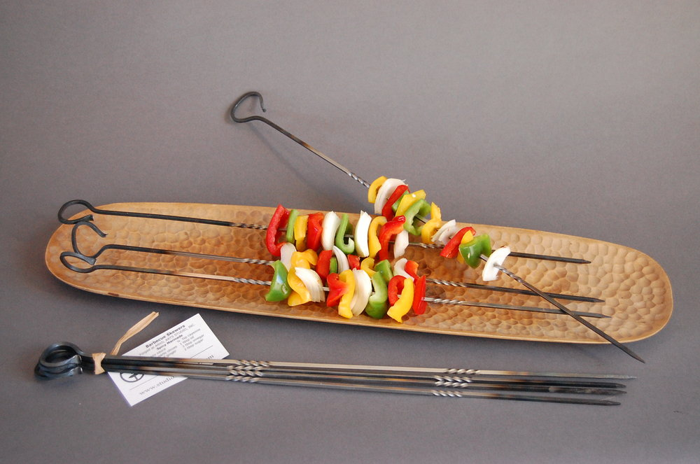 Skewers on Platter with vegetables  one set in front.JPG