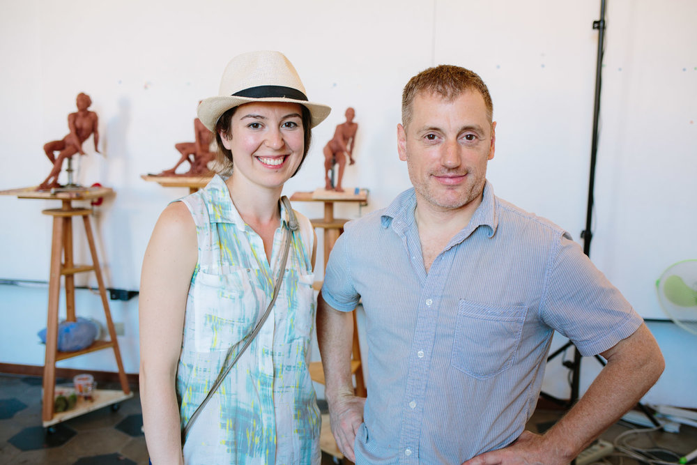 Melanie and Brian in the studios of Rome Art Workshops, Italy