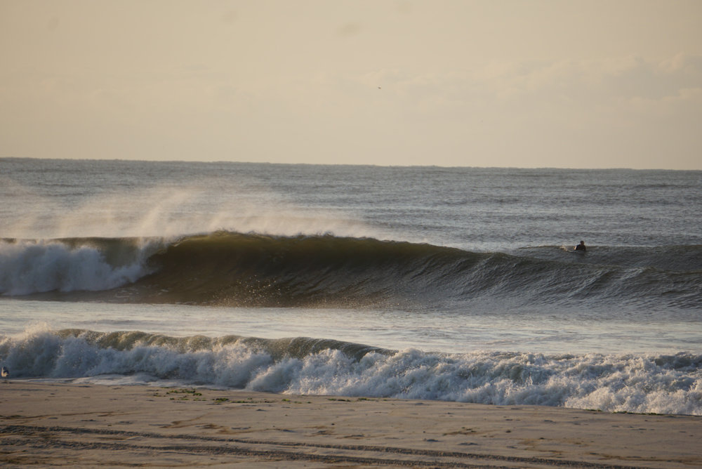 Long Beach on the first day of the Hermine swell. Pic: Dion Mattison