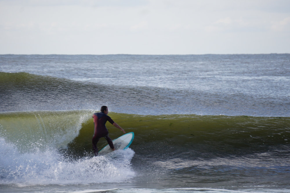 Dion going down the line on an inside runner at Grand Ave. in Long Beach on Hermine Day 1. Pic: Paul Saliba