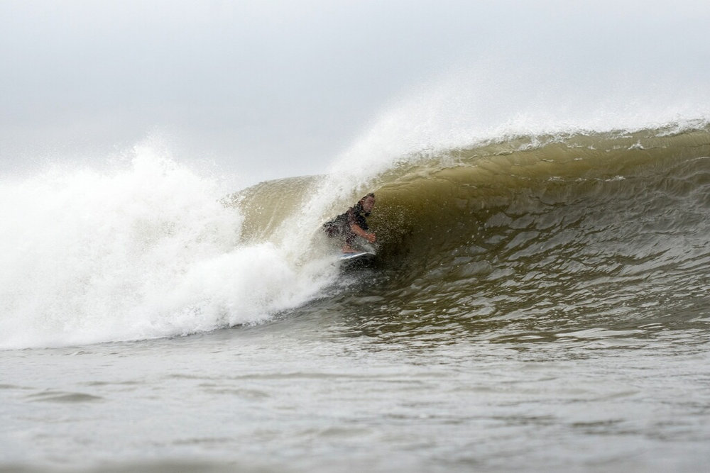 Dion in a fun little tube on Hermine Day 3. Photo: La Vida Escondida