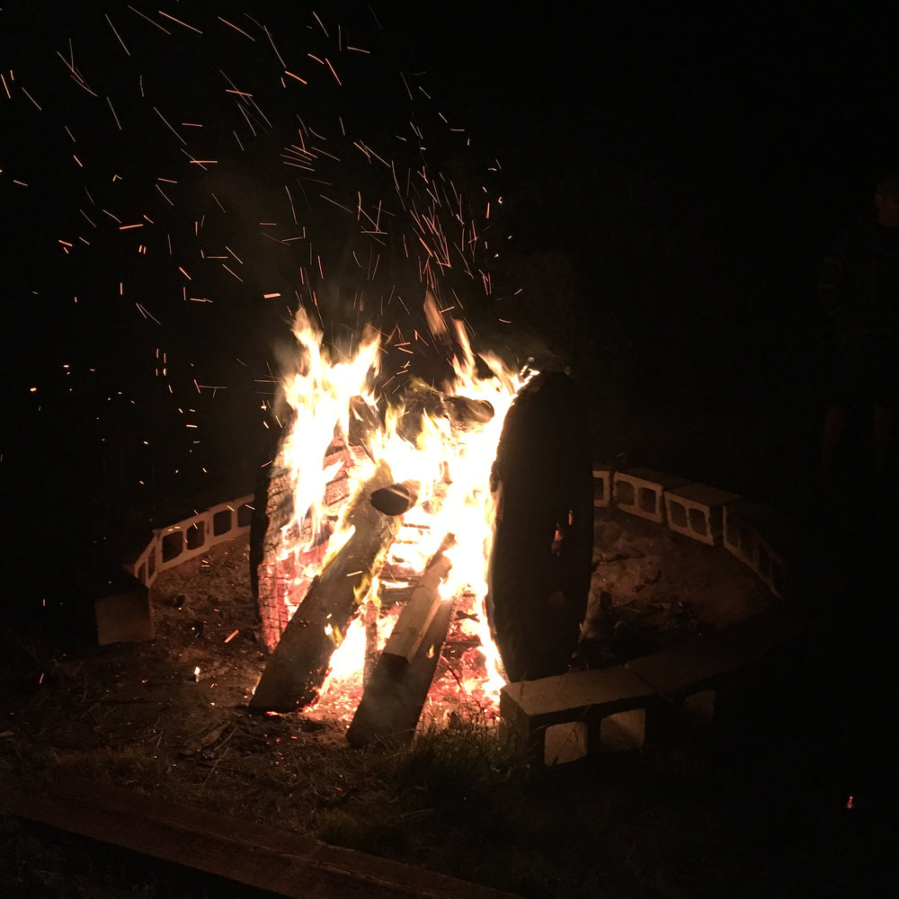 Nothing to end a great day of surf like a bonfire.