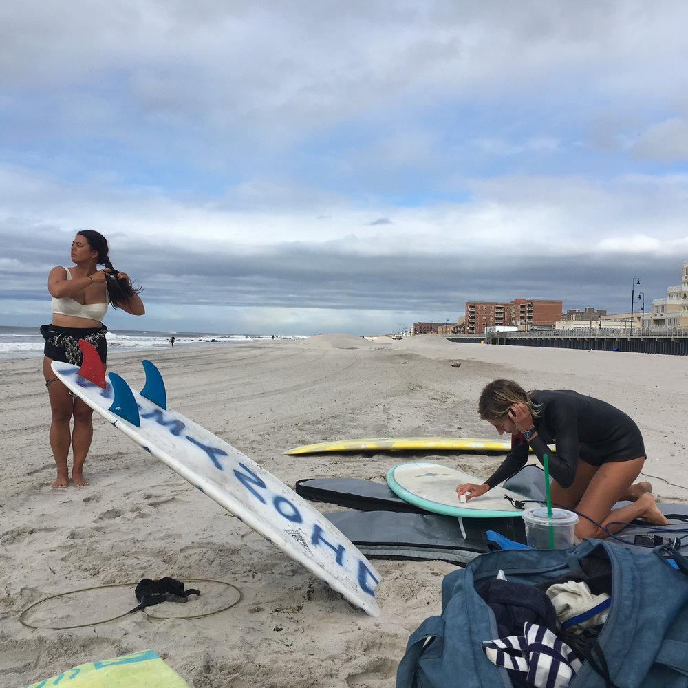 Christina Nizar and Mariza Daras preparing to charge, Hermine Day 3.