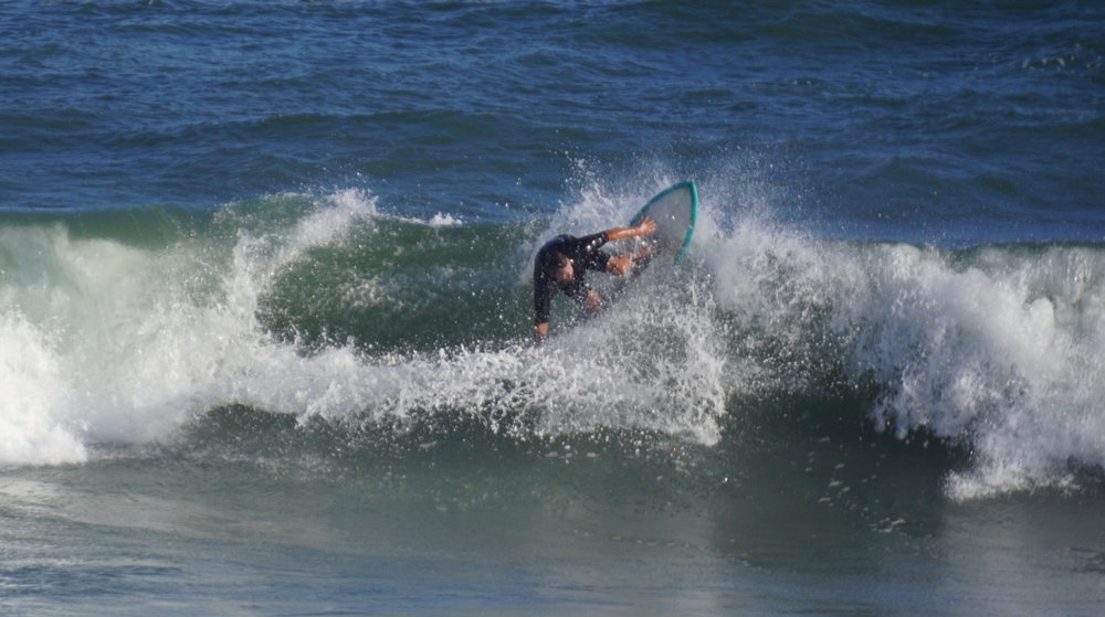 "Andrew going straight up on the 5'6"" Falcone keel fish, Hermine Day 4. Pic: Paul Saliba."