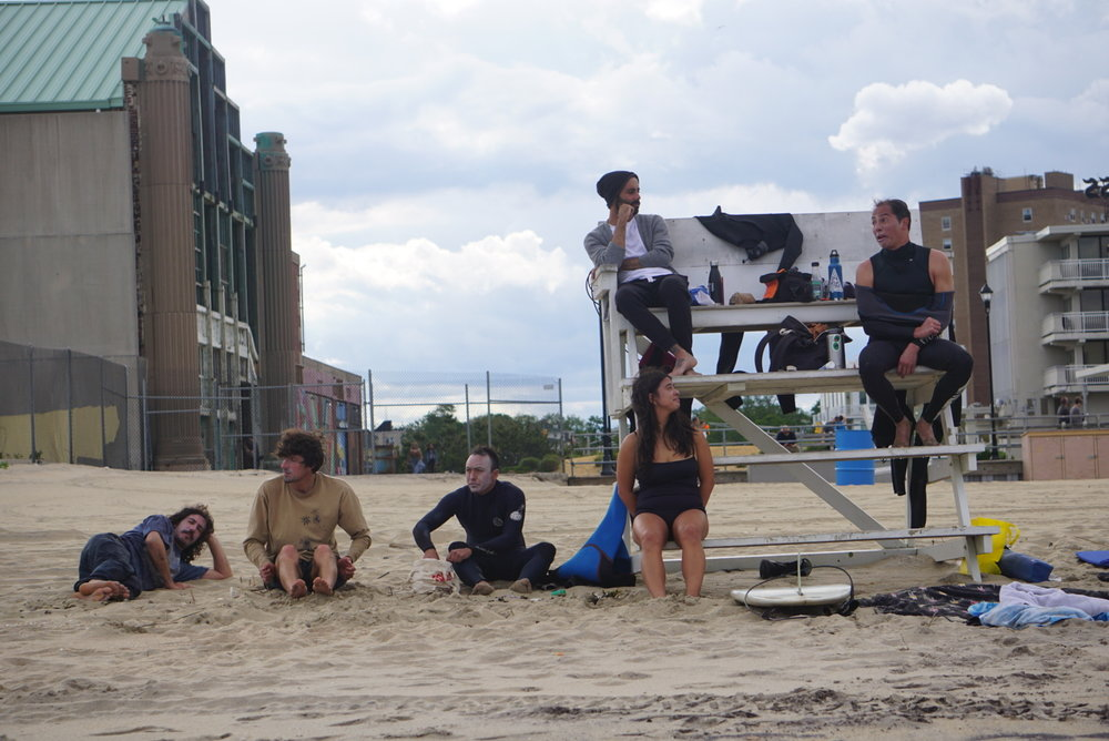 Lifeguard stand takeover! Left to right: Brendan, Juan, Dion, Christina, Phil, and Bryan. Photo: Helena Cortes.