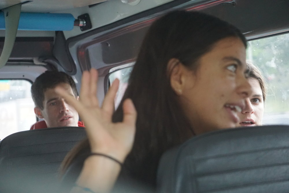 Van conversations never disappoint. Bryce, Christina, and Helena. Photo: Juan Heredia