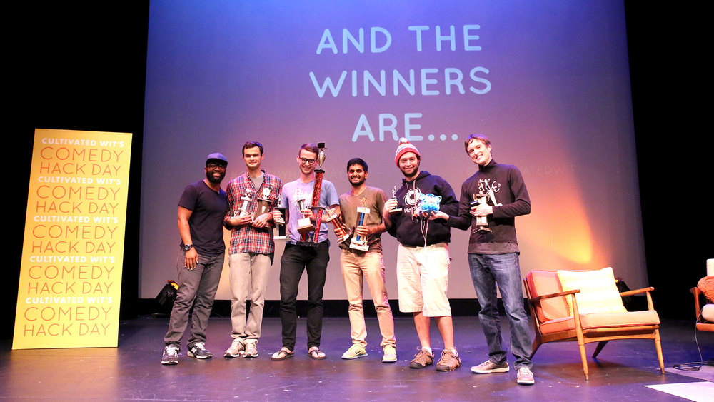 Conor, second from the left, now joins Matt Klinman as our second two-time Comedy Hack Day winner. He won in 2013 with  Citation Needed .