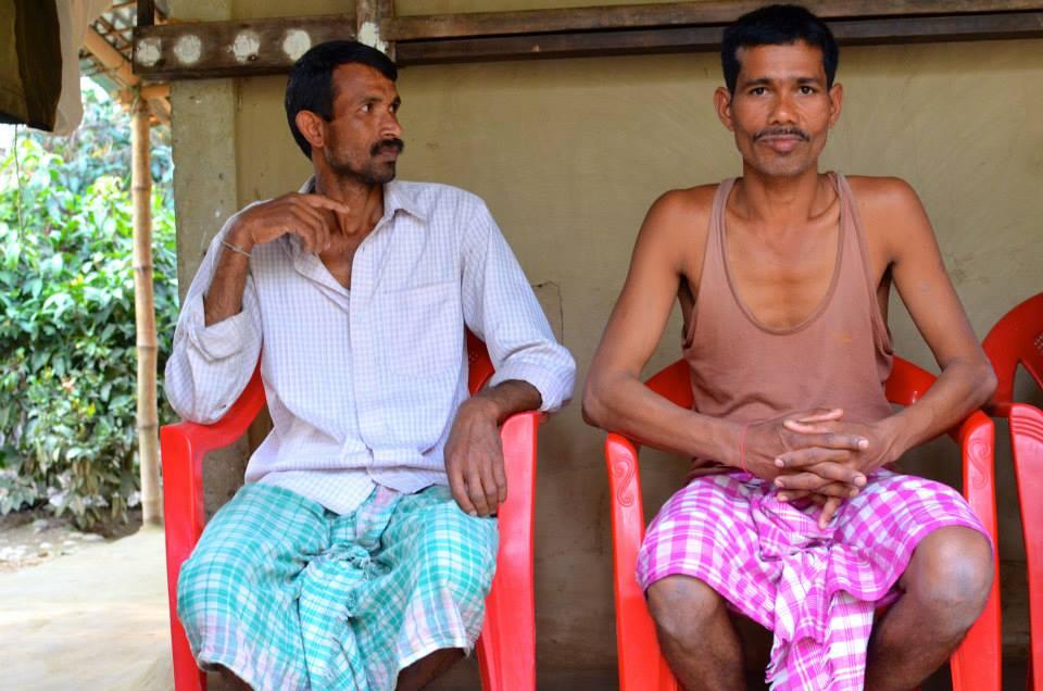 Chandra Shil (L) and Ajit Das (R) are Village-Level Leaf Collecting Agents for Tamul Plates. They collect arecanut leaves from their neighbors in Barangabari Village for the Tamul Plates production unit at Barpeta Road. The two men have been best friends since childhood.